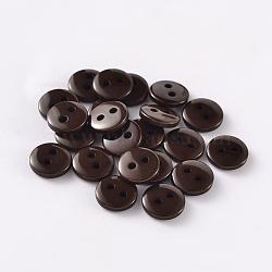 2-дырочные плоские круглые смолы швейные кнопки для дизайна костюма, коричневые, 9x2 мм, отверстие : 1 мм(BUTT-E119-14L-02)