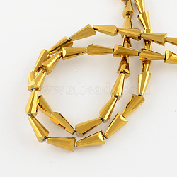 Electroplate Glass Beads, Faceted Cone, Golden Plated, 18x10x9mm, Hole: 1.5mm(X-EGLA-R079-18x10mm-03)