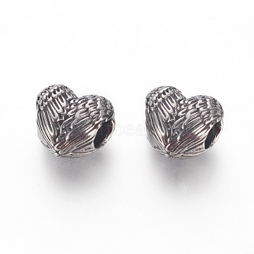 304 Stainless Steel European Beads, Large Hole Beads, Heart with Wing, Antique Silver, 10x11.5x7.5mm, Hole: 4.5mm(STAS-F195-130AS)