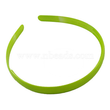 Plain Plastic Hair Band Findings, with Teeth, Green, 8mm wide (X-PJH103Y-7)