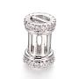 Clear Column Brass+Cubic Zirconia Beads(ZIRC-L085-53P)