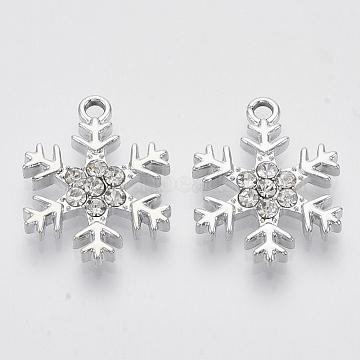 Alloy Pendants, with Crystal Rhinestones, Snowflake, Platinum, 22x17x3mm, Hole: 2mm(X-PALLOY-T073-01P)