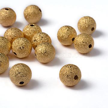 10mm Golden Color Brass Round Textured Beads, Hole: 1.8mm(X-EC226-G)