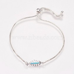 """Bracelets bolo chaîne en laiton, Bracelets coulissants, avec opale synthétique et strass, Fishbone, platine, bleu foncé, 9"""" (230 mm)(BJEW-K180-02-03A)"""