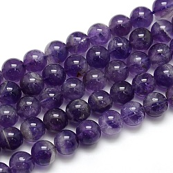 Natural Amethyst Round Bead Strands, Grade AB, 10mm, Hole: 1mm; about 39pcs/strand, 15.74inches