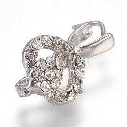 Pendentifs de bails de cheville en laiton strass, pour la moitié de perles percées, platine, 18x9.5x6.5mm, trou: 3x4 mm; broches: 0.8 mm(KK-F773-05P)