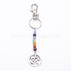 Tibetan Style Alloy Keychain, with Natural Gemstone Beads, Iron Key Rings and Alloy Swivel Lobster Claw Clasps, Flat Round with Ohm, Mixed Color, 140mm(X-KEYC-JKC00150-05)