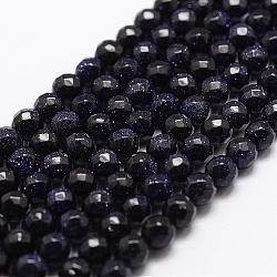 """Chapelets de perles en pierre d'or bleue synthétique, facette, rond, 4mm, trou: 1mm; environ 93 pcs/chapelet, 14.9""""~15.1""""(G-D840-14-4mm)"""