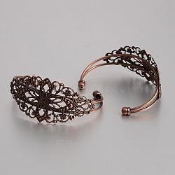Латунные манжеты браслет материалы, браслет заготовки, с филигранной цветок, без никеля , Красная медь, 63 мм(KK-J184-56R-NF)
