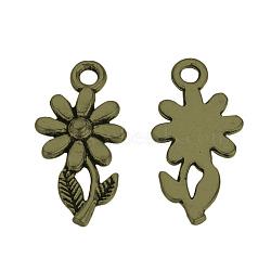 Pendentifs en alliage de style tibétain, fleur, Sans cadmium & sans nickel & sans plomb, bronze antique, 19x10x2mm, Trou: 2mm