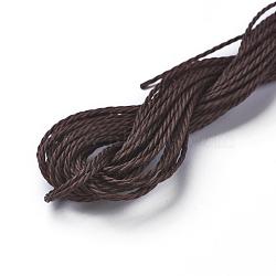 cordon de polyester ciré, café, 1 mm; sur 8.96~9 m / rouleau(YC-WH0005-15)