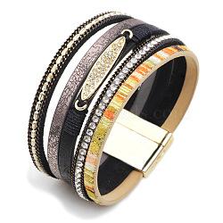 """Bracelets multi-rangs en cuir PU, avec fermoir magnétique et strass en alliage, ovale, colorées, 7-1/2"""" (19cm); 30mm de large(BJEW-L616-16A)"""