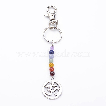 Tibetan Style Alloy Keychain, with Natural Gemstone Beads, Iron Key Rings and Alloy Swivel Lobster Claw Clasps, Flat Round with Om Symbol, Mixed Color, 140mm(X-KEYC-JKC00150-05)