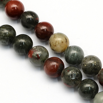 Natural African Bloodstone Beads Strands, Heliotrope Stone Beads, Round, 6.5mm, Hole: 1mm; about 63pcs/strand, 15.5 inches(X-G-S184-6mm)