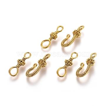Tibetan Style Alloy S-Hook Clasps, Antique Golden, Clasp: 24.5x7.5x5.5mm, Hole: 5.5x4.5mm & 3.5x2.5mm; S-Hook: 26x13x7mm, Hole: 3.2x2mm & 2x1mm(TIBE-L003-031AG)