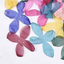 tissu organza, pour la fabrication de bijoux de bricolage, fleur, couleur mélangée, 140~150x100~130 mm, trou: 2 mm(X-FIND-S303-03)
