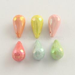 Breloques de larme en acrylique plaqué couleur ab, facette, couleur mixte, 9x17mm, Trou: 2mm(X-SACR-Q106-22)