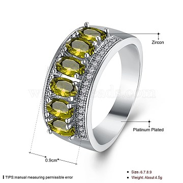 Green Brass+Cubic Zirconia Finger Rings