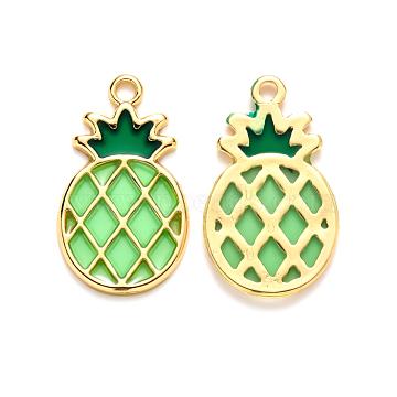 Alloy Pendants, with Epoxy Resin, Pineapple, Golden, Light Green, 27.5x16.5x1.5mm, Hole: 2mm(X-RESI-S385-001C)