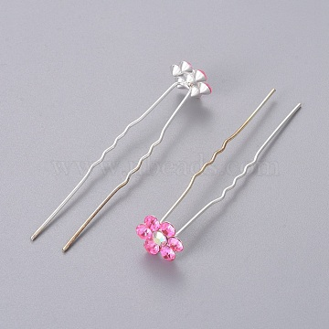 (Defective Closeout Sale)Bridal Party Wedding Decorative Hair Accessories, Silver Color Plated Iron Hair Forks, with Rhinestone Flower, Light Rose, 68mm(PHAR-XCP0004-02S-01)