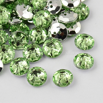 2-Hole Taiwan Acrylic Rhinestone Flat Round Buttons, Faceted & Silver Plated Pointed Back, Light Green, 24x8.5mm, Hole: 1mm(BUTT-F015-24mm-34)