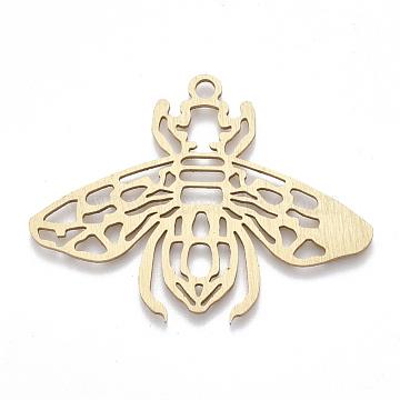 Aluminium Big Pendants, Laser Cut Big Pendants, Cicada, Golden, 37x50x1mm, Hole: 2mm(X-ALUM-T001-50G)