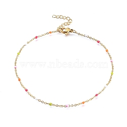 304 bracelets de cheville en acier inoxydable, avec des liens en émail, or, coloré, 9 (23 cm); 1.5~2 mm(AJEW-H010-01J)