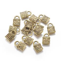 Пластиковый кулон ccb, запирать, античное золото , 16x10.5x2.5 мм, отверстие : 3.5x4.5 мм(CCB-K007-031AG)