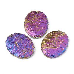 pendentifs en pierre de sang de dragon naturel, arc-en-plaqué, ovale, 45~45.5x35~36x6.5~8 mm, trou: 1.5~2 mm(G-S329-002)