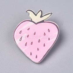 Acrylic Badges Brooch Pins, Cute Lapel Pin, for Clothing Bags Jackets Accessory DIY Crafts, Strawberry, Pink, 44x36x8.5mm; Pin: 0.8mm(JEWB-E676-21)