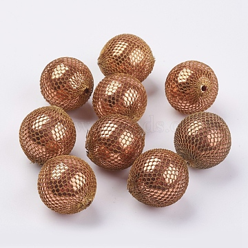 Handmade Woven Beads, Brass Bead Covered with Brass Chain, Golden, 26mm, Hole: 2.5mm; about 10pcs/bag(G-F552-05GR-26mm)