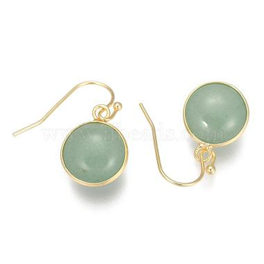 Flat Round Golden Tone Brass Natural & Synthetic Mixed Stone Dangle Earrings(EJEW-M059-M)-3