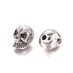 Halloween 304 Stainless Steel Beads, Skull Head, Antique Silver, 12.5x10.5x15mm, Hole: 2.8mm(X-STAS-D175-23AS)