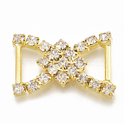 Laiton strass boucles, cristal, or, 24~25x16~17x3mm, Trou: 4x9mm(RB-T008-05G)