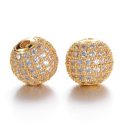CZ Brass Micro Pave Grade AAA Clear Color Cubic Zirconia Round Beads, Cadmium Free & Nickel Free & Lead Free, Golden, 10mm, Hole: 2mm(KK-O065-10mm-05G-NR)