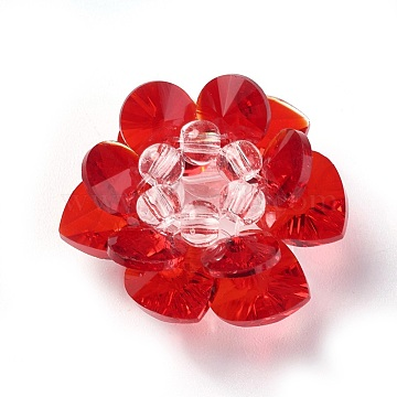 25mm Red Flower Glass Beads