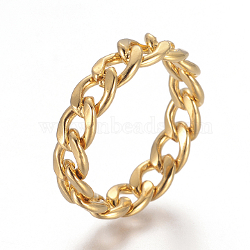 Unisex 304 Stainless Steel Rings, Curb Chains Finger Rings, Wide Band Rings, Golden, Size 7, 17mm; 5.5mm(X-RJEW-L092-01G-17mm)