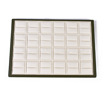Wood Ring Displays, with PU Leather, Rectangle, Wheat, 35.5x25.2x1.9cm(RDIS-O004-04)