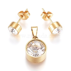 304 Stainless Steel Solitaire Jewelry Sets, Stud Earrings and Pendants, with Crystal Rhinestone and Ear Nuts, Flat Round, Golden, Pendant: 13x10x7mm, Hole: 6x3mm; Ear Stud: 15mm, pin: 0.6mm(X-SJEW-G075-03G-01)