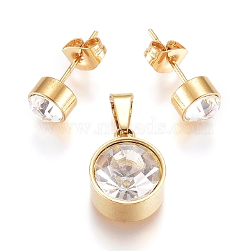 304 Stainless Steel Solitaire Jewelry Sets, Stud Earrings and Pendants, with Crystal Rhinestone and Ear Nuts, Flat Round, Golden, Pendant: 13x10x7mm, Hole: 6x3mm, Ear Stud: 15mm, pin: 0.6mm(X-SJEW-G075-03G-01)