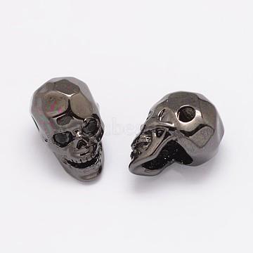 Brass Micro Pave Cubic Zirconia Beads, Skull, Lead Free & Nickel Free & Cadmium Free, Gunmetal, 13x8x9.5mm, Hole: 2mm(X-ZIRC-P017-11B-NR)
