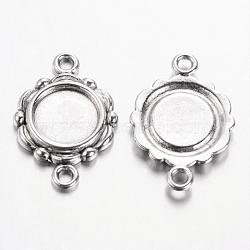 Сеттинги сплава ссылка кабошон скошенных тибетский стиль, без свинца, античное серебро, плоско-круглый лоток : 9.5 мм ; 23x15x2 мм, отверстие : 2 мм(TIBEP-0578-S-LF)