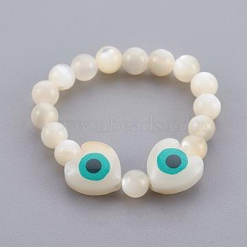Shell Beads Stretch Finger Rings, Evil Eye, US Size 12 3/4(22mm)(RJEW-JR00230)