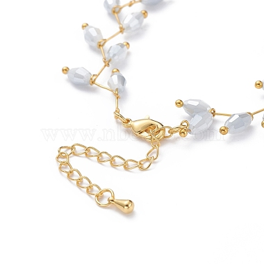 Electroplate Faceted Oval Glass Beaded Necklaces(NJEW-JN02625-02)-3