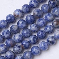 """Perles de jaspe tache bleue naturelle, rond, 8mm, trou: 1mm; environ 49 pcs/chapelet, 15.35""""(G-D855-10-8mm)"""