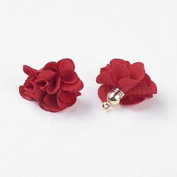 Décorations de pendentif en tissu, avec les accessoires acryliques, fleur, rouge, 25~30x28~35mm, Trou: 2mm(X-FIND-P026-D04)