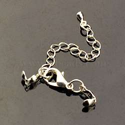 Chain Extender, with Brass End Piece, Iron Bead Tips and Alloy Lobster Claw Clasps, Silver Color Plated, 77mm, Clasps: 12x6mm, Bead Tips Hole: about 1.5mm(X-FIND-JF00063-02)