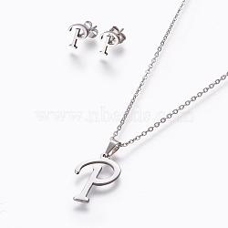 304 ensembles de bijoux en acier inoxydable, boucles d'oreille et colliers, alphabet, couleur inox, letter.p, 17.7 18.1 cm); (45~46 mm; Broche: 7.5~10x3.5~12 mm(X-SJEW-L141-052P)