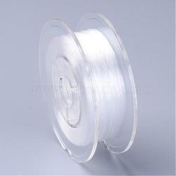 Chaîne de cristal élastique plate teinte à l'environnement japonaise, fil de perles élastique, pour la fabrication de bracelets élastiques, plat, blanc, 0.6mm; Environ 60 m / rouleau (65.62 heures / rouleau)(EW-F005-0.6mm-02)
