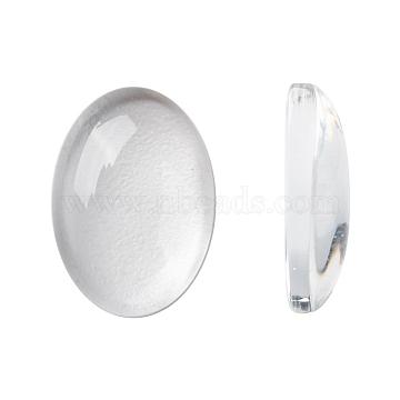 Transparent Oval Glass Cabochons, Clear, 14x10x3mm(X-GGLA-R022-14x10)